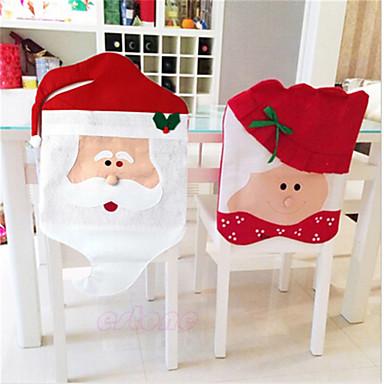 szép karácsonyi székhuzat mr& mrs mikulás, karácsony, dekoráció étkező szék fedél házibuli dekoráció