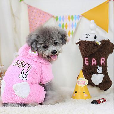 강아지 후드 점프 수트 강아지 의류 카툰 커피 핑크 폴라 플리스 면 코스츔 애완 동물 남성용 여성용 따뜻함 유지