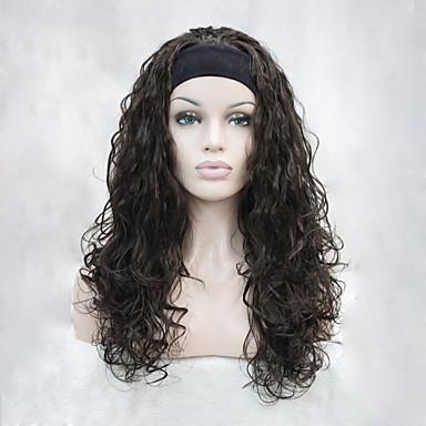 Szintetikus parókák Hullámos Sűrűség Sapka nélküli Női Barna Carnival Paróka Halloween paróka Half Paróka Szintetikus haj