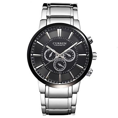 CURREN Masculino Relógio de Pulso Quartzo Aço Inoxidável Banda Prata Preto