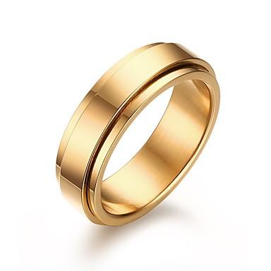 Męskie Stal nierdzewna Band Ring - Imprezowa / Na co dzień / Modny Golden Pierścień Na Prezenty bożonarodzeniowe / Ślub / Impreza