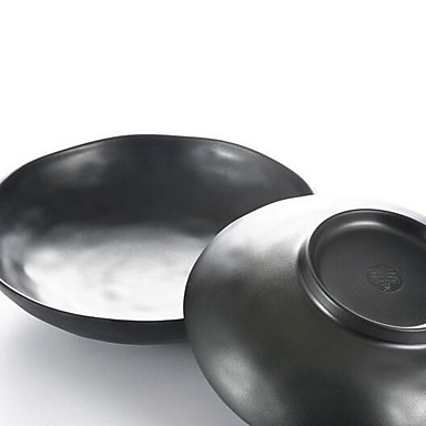 előkelő japán étkészlet melamin művészeti matt fekete hullámos tál melamin étkészlet