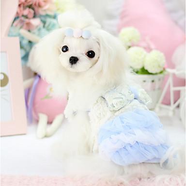 강아지 드레스 강아지 의류 코스프레 따뜻함 유지 리본매듭 브리티쉬 블루 핑크
