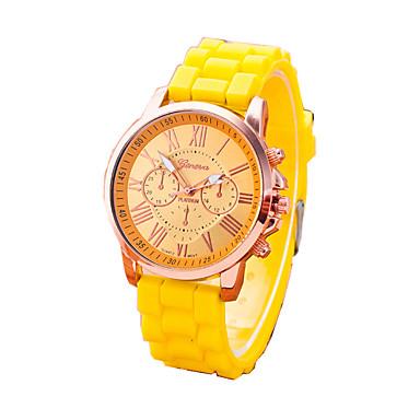 여성용 패션 시계 팔찌 시계 석영 캐쥬얼 시계 고무 밴드 위장 블랙 화이트 레드 오렌지 브라운 그린 핑크 노란색