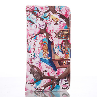 용 Samsung Galaxy S7 Edge 지갑 / 카드 홀더 / 스탠드 케이스 풀 바디 케이스 고양이 소프트 인조 가죽 Samsung S7 edge / S6 / S5 Mini / S4 Mini / S4
