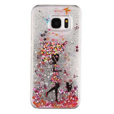 Case Kompatibilitás Samsung Galaxy Samsung Galaxy S7 Edge Folyékony Átlátszó Minta Fekete tok Szexi lány Kemény PC mert S7 edge S7