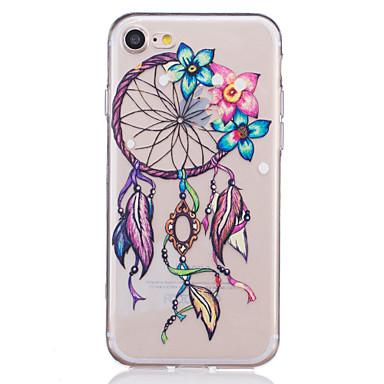voordelige iPhone 5 hoesjes-hoesje Voor Apple iPhone 7 Plus / iPhone 7 / iPhone 6s Plus Transparant / Reliëfopdruk / Patroon Achterkant Cartoon / Lace Printing / Bloem Zacht TPU