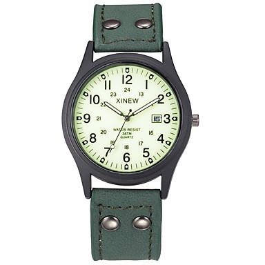 levne Pánské-Pánské Sportovní hodinky Módní hodinky Vojenské hodinky Křemenný Kůže Zelená Voděodolné Kalendář Svítící Analogové Vintage Na běžné nošení Aristo - Zelená