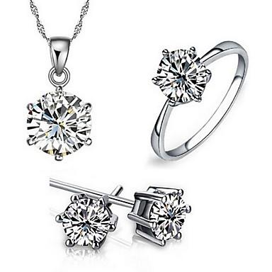 ieftine Seturi de Bijuterii-Pentru femei Diamant Zirconiu Cubic moissanite Seturi de bijuterii Cercei Stud Coliere cu Pandativ Solitaire Rundă Inimă Iubire femei European Modă de Mireasă Plastic Zirconiu Zirconiu Cubic cercei