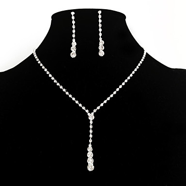 Damskie Kryształ górski / Imitacja diamentu Biżuteria Ustaw Náušnice / Naszyjniki - Ślubny / Elegancki / Modny Y Shaped Silver Zestawy