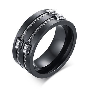 Męskie Band Ring Biżuteria Black Stal tytanowa Spersonalizowane Modny Codzienny Casual Biżuteria kostiumowa