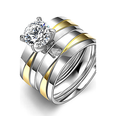 للمرأة مكعب زركونيا خاتم - الفولاذ المقاوم للصدأ تصميم فريد, طبقة مزدوجة 6 / 7 / 8 ذهبي من أجل زفاف / حزب / المكتب \ الوظيفة
