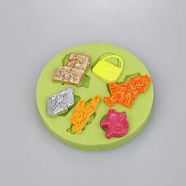 퐁당 케이크 장식 도구에 대한 6 캐비티 여성 가방 물건 실리콘 곰팡이 색상 무작위