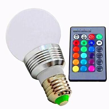 3W 320lm E26 / E27 LED 스마트 전구 A60(A19) 1 LED 비즈 고성능 LED 밝기조절가능 리모컨 작동 RGB 85-265V 220-240V