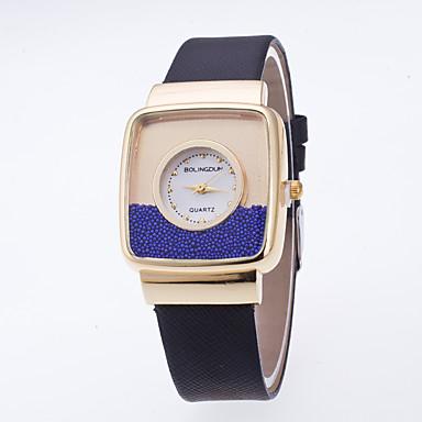 여성용 패션 시계 플로팅 크리스탈 시계 손목 시계 석영 / PU 밴드 캐쥬얼 블랙 화이트 블루 레드 핑크 카키 로즈
