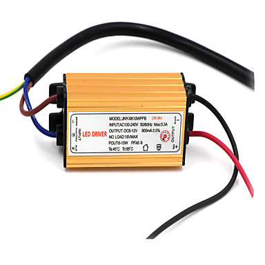 DIY IP66 Waterproof 10W 50/60Hz 900mA Output LED Driver (DC 7-12V)