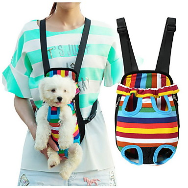 cheap Dog Supplies & Grooming-Cat Dog Carrier & Travel Backpack Front Backpack Pet Baskets Stripes Portable Breathable Stripe For Pets