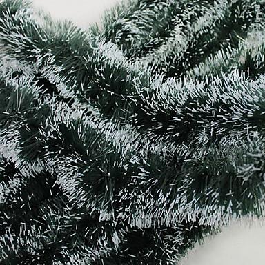 karácsonyi ajándék dekoráció zöld fehér szalaggal koszorú tetejét festőbuzér karácsonyfadísz