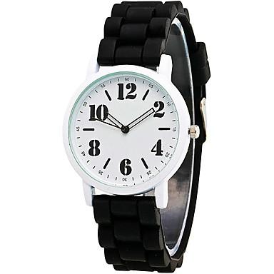 아가씨들 패션 시계 손목 시계 캐쥬얼 시계 / 석영 실리콘 밴드 멋진 캐쥬얼 블랙 화이트 블루 그린 로즈