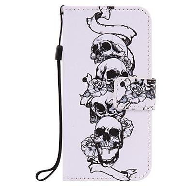 Mert Pénztárca / Kártyatartó / Állvánnyal / Flip / Dombornyomott / Minta Case Teljes védelem Case Koponya Kemény Műbőr AppleiPhone 7 Plus