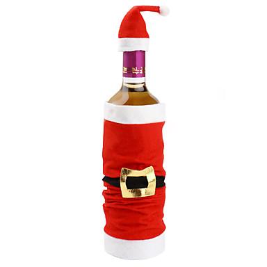 인기있는 고급 봉제 산타 클로스 모자 레드 와인 가방 병 세트는 크리스마스 실내 크리스마스 장식을 커버