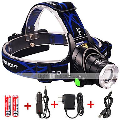 LED zseblámpák LED 1600 lm 3 Mód Cree XM-L2 akkukkal és töltőkkel Nagyítható Állítható fókusz Ütésálló Újratölthető Vízálló Strike keret