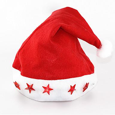 12PCS / 많은 행복 한 새 해 / 크리스마스 용품 모자 전자 빛까지 캡 별 다섯 개짜리 발광 램프 크리스마스 선물 모자
