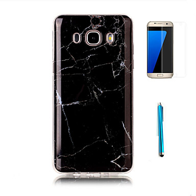 For Samsung Galaxy J7(2016) Case Cover with Screen Protector and Stylus Granite Marble Pattern Soft TPU Case J5 J7 J3(2016) Grand Prime