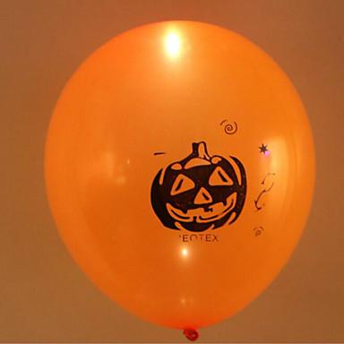5szt halloween kolorowe światła LED migające głowy dyni balon balony lateksowe halloween dekoracje kolor losowy