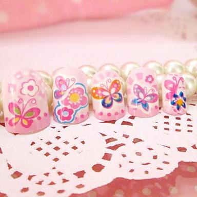 접착제와 네일 제품 스팟 만화 사랑스러운 나비 가짜 손톱 패치 네일 24 개