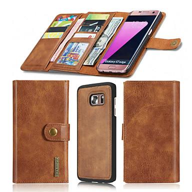 Case Kompatibilitás Samsung Galaxy S7 edge S7 Kártyatartó Pénztárca Mágneses Origami Héjtok Tömör szín Kemény Valódi bőr mert S7 edge S7