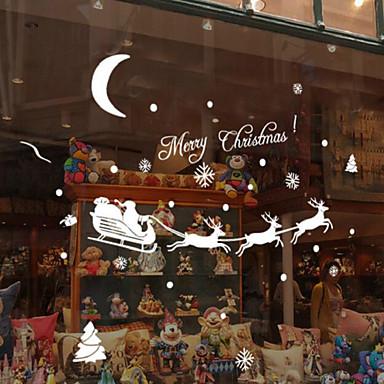 눈송이 새끼 사슴 크리스마스 벽 스티커 18 * 60cm 임의의 색상