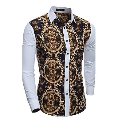 b7211fac Klassisk krave Tynd Herre - Geometrisk Bomuld, Patchwork Vintage Skjorte  Hvid L / Langærmet /