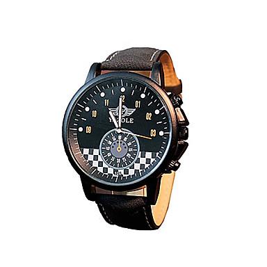 남성 드레스 시계 패션 시계 손목 시계 / 석영 가죽 밴드 캐쥬얼 블랙 브라운