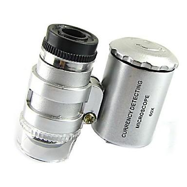 mini 60x Mikroskop doprowadziły biżuteria lupa detektor UV waluty przenośna lupa lupy soczewkę z LED Light