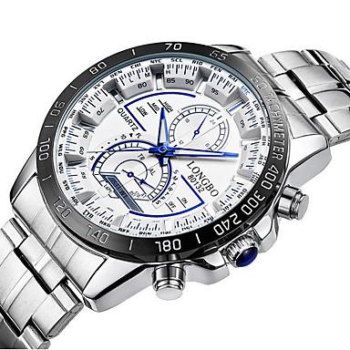 LONGBO 남성용 스포츠 시계 드레스 시계 석영 방수 야광 스테인레스 스틸 밴드 럭셔리 블랙 화이트
