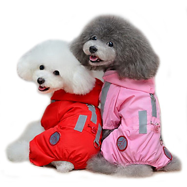 cheap Dog Clothing & Accessories-Cat Dog Rain Coat Dog Clothes Solid Colored Red Pink Terylene Costume For Spring &  Fall Summer Men's Women's Waterproof