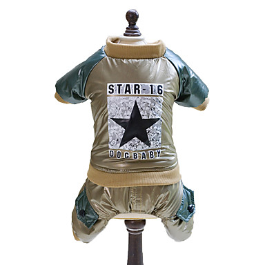 cheap Dog Clothing & Accessories-Dog Jumpsuit Dog Clothes Stars Gold Green Cotton Costume For Spring &  Fall Winter Men's Women's Fashion