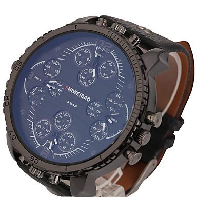 Недорогие Часы на кожаном ремешке-Муж. Спортивные часы Армейские часы Кварцевый Крупногабаритные Кожа Черный / Коричневый С двумя часовыми поясами Cool Панк Аналоговый Классика Винтаж На каждый день Мода Нарядные часы - / Один год