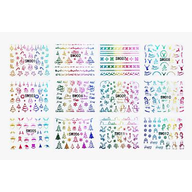 12 designs ,12 different images 아트 스티커 네일 물 전송 데칼 메이크업 화장품 아트 디자인 네일
