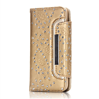 Case Kompatibilitás iPhone 7 Plus iPhone 7 Apple iPhone 7 Plus iPhone 7 Kártyatartó Pénztárca Strassz Állvánnyal Héjtok Virág Kemény