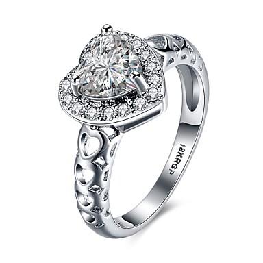 여성 새해 맞이 약혼 반지 사치 러브 하트 구리 모조 다이아몬드 보석류 결혼식 파티 약혼 일상 캐쥬얼