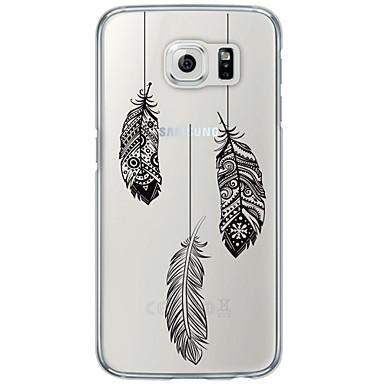 Недорогие Чехлы и кейсы для Galaxy S6-Кейс для Назначение SSamsung Galaxy S7 edge / S7 / S6 edge plus Ультратонкий / Полупрозрачный Кейс на заднюю панель Перья Мягкий ТПУ