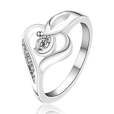 Női Gyűrű Luxus Szerelem Szív Cirkonium Kocka cirkónia Réz Ezüstözött Ékszerek Esküvő Parti Napi Hétköznapi
