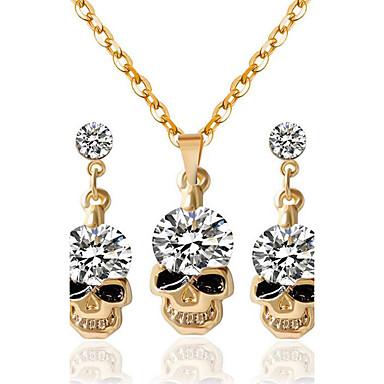 여성용 합성 다이아몬드 쥬얼리 세트 1 목걸이 1 쌍의 귀걸이 - 골드 제품 파티 일상 캐쥬얼