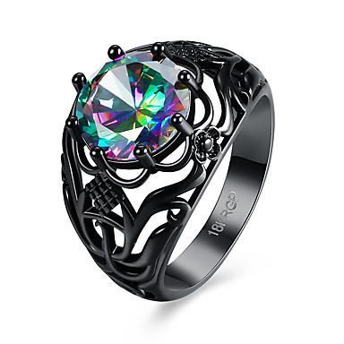 Damen Ring Schwarz Kupfer vergoldet Einzigartiges Design Retro Geburtstag Party Geschenk Alltag Modeschmuck