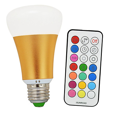 900-1200 lm E26 / E27 LED 글로브 전구 A60(A19) 1 LED 비즈 COB 적외선 센서 / 밝기조절가능 / 리모컨 작동 차가운 화이트 / RGB 85-265 V / 1개 / RoHS 규제
