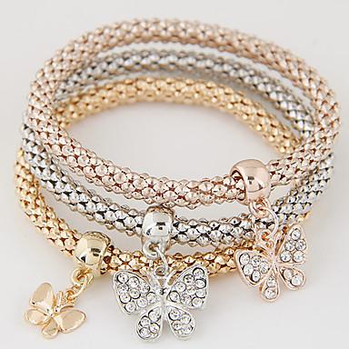 Női Strassz Hamis gyémánt Pillangó Elbűvölő karkötők - Luxus Többrétegű Divat Állat Szivárvány Karkötők Kompatibilitás Ajándék Napi