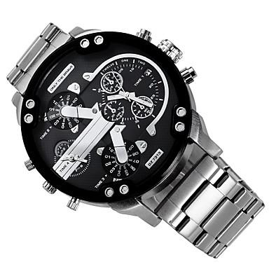 Муж. Модные часы Нарядные часы Армейские часы Кварцевый Черный / Серебристый металл Календарь С двумя часовыми поясами Cool Аналоговый Кулоны Роскошь Классика На каждый день - Зеленый Черный / Белый