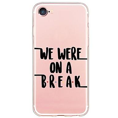 Etui Käyttötarkoitus Apple iPhone 5 kotelo iPhone 6 iPhone 7 Ultraohut Läpinäkyvä Takakuori Sana / lause Pehmeä TPU varten iPhone 7 Plus